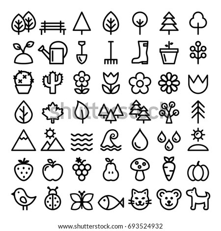 Nature Vector Line Icons Minimalist Park Stock Vector