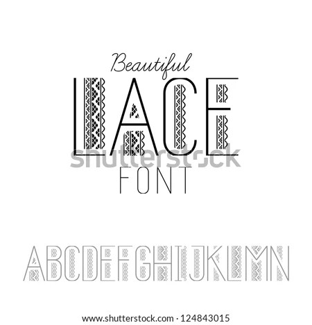 Beautiful Lace Font Set AN Vector Stock Vector 124843015