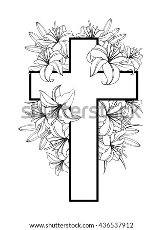 Cross Easter Lilies White Stock Photos, Images, & Pictures