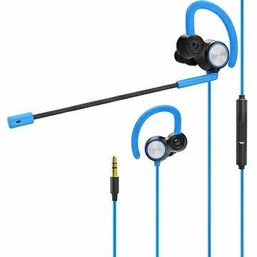 ゲーミングヘッドセット付き ヘッドフォン ゲーム用 ゲーミングイヤホン 高音質 二重スピーカー/1.5mケーブル付き/PlayStation 4/デスクトップPC/ノートパソコン/MacBook/タブレット/スマートホンに対応(ブルー)