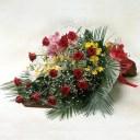 お祝いの花束 赤バラとランの豪華な花束 クリスマス お歳暮 お正月