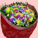 送料無料 虹色のバラレインボーローズミラクル 【20本の花束】結婚祝い 結婚記念日 ホワイトデー【品質保証★花】