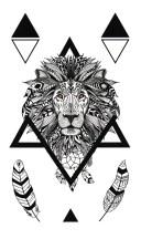 [KINGHORSE] タトゥーシール 獅子 ライオン hm1012 【レギュラー】