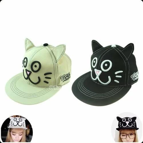 頭周り54 〜 60 CM 調整可能 マジックテープねこ モチーフ 刺繍 コットンキャップ 猫耳 帽子 LIVE フェス
