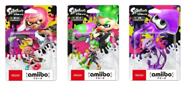 amiibo スプラトゥーンシリーズ 全3種セット (ガール【ネオンピンク】/ボーイ【ネオングリーン】/イカ【ネオンパープル】)
