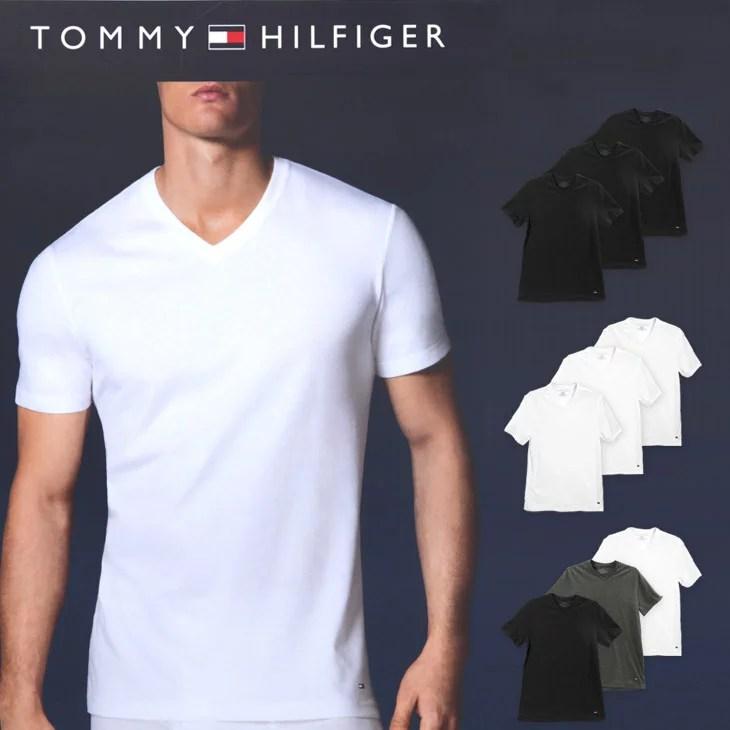 【3枚組セット】TOMMY HILFIGER/トミーヒルフィガー Tシャツ メンズ Vネック 半袖 Classic Fit シンプル 無地 ワンポイント ブランド 男性 トップス インナー 肌着 トミヒル 福袋 バレンタイン 誕生日プレゼント 彼氏 父 ギフト