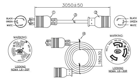 【楽天市場】ULロックタイプ延長コードL6-30P-L6-30R/3M/30A:デンシ電気店