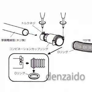 【楽天市場】【販売終了】 バクマ工業 コンビネーションカップリング FEP管⇔厚鋼電線管(ネジ無)・1サイズ ...
