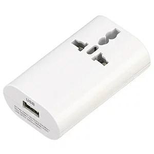 電材堂 海外用マルチ変換プラグ 2個口+USB1ポート A・C・O・BF・SEタイプ対応 USB出力
