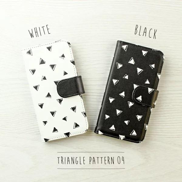 三角パターン04 モノトーン2色 内側:黒 iPhoneケース手帳型 スマホケース 対応機種(iPh