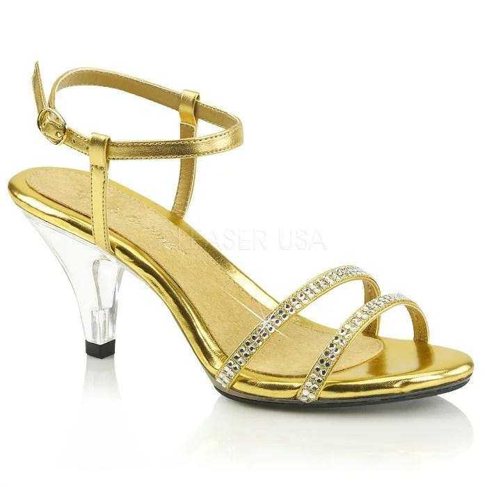 取寄せ靴 きらきらラインストーン付きストラップ ベルト付き 薄厚底サンダル 7.5cmクリアヒール 金 ゴールド つや消し クリア 大きいサイズあり イベント 仮装 女装 男装 パーティ- LGBTファッション