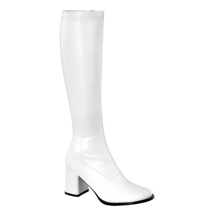 即納靴 コスプレ ロングブーツ サイドジッパー付き 8cmチャンキーヒール 白ホワイトつや消し FUNTAZMA ファンタズマ 大きいサイズあり ダンス イベント 仮装 女装 男装 パーティ- LGBTファッション