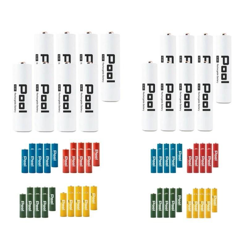 充電池 単3 単4 Pool プール 16本セット単3 形 ×8本 と 単4 形
