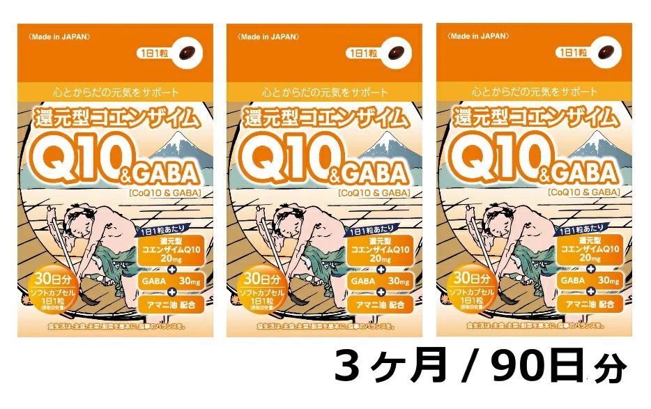 【ふるさと納税】還元型コエンザイムQ10&GABA(1袋30粒)3か月パック 90日分 健康食品 サ