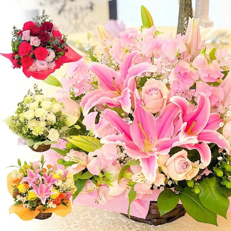 送料無料 オリエンタルリリー バラ アレンジメント お祝い 花 ギフト 母の日 プレゼント 誕生日
