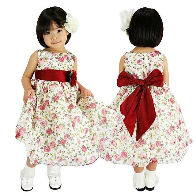 SALE シフォン フラワープリント ノースリーブドレス 花柄 90 100 110 120 ...
