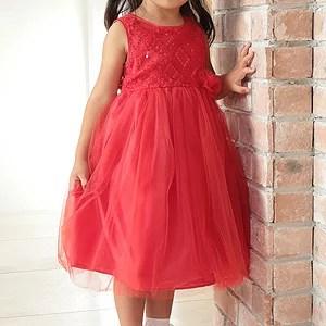 女の子フォーマルドレス ノースリーブチュールスカートドレス「レッド」アウトレット 1点のみゆう...