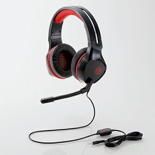 エレコム ゲーミングヘッドセット 両耳オーバーヘッド 4極ミニプラグ 50mmドライバ 極厚イヤーパッド コントローラ付属 ブラック HS-G01BK