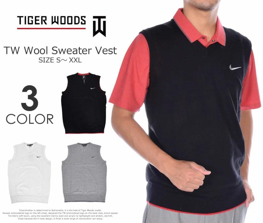 (福袋対象商品)タイガーウッズモデル ゴルフウェア 長袖メンズウェア ゴルフベスト ウール セーター ベスト 大きいサイズ USA直輸入 あす楽対応