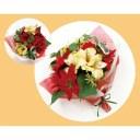 【造花】丸和貿易/CTポンヌフブーケ クリスマスカラー (L)/420825403【01】【取寄】