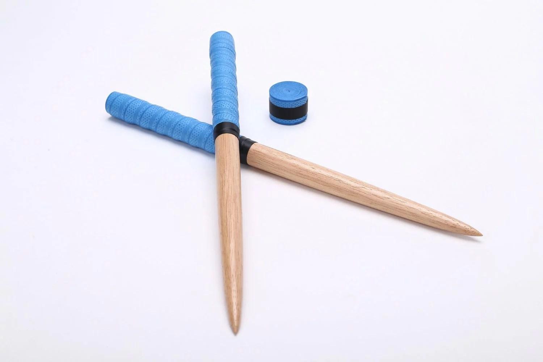 定形外送料無料【逆鱗】太鼓の達人 マイバチ 交換用グリップ付き(二重巻き可能です!)テーパー 青色 超硬材/ゴムの木/木製バット素材反発力が自慢!20ミリ-350ミリ赤青空黄紫藍黒もあります