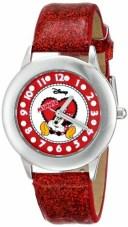 ディズニー 腕時計 キッズ 時計 子供用 ミニー Disney Kids' W000284 Tween Minnie Mouse Glitz Stainless Steel Red Glitter Leather ..