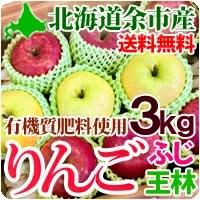 りんご ふじ王林2種ミックス いずれか計3kg 北海道余市産