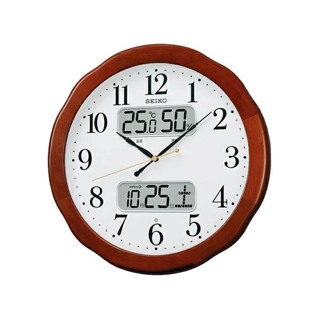 セイコー クロック 電波時計 電波壁掛け時計 KX369B 温度計 湿度計 茶 木地 アナログ 掛時