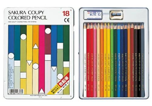 サクラクーピー色鉛筆18色スタンダード(缶入り)