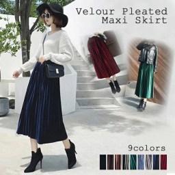 【2018年秋最新】ベロアプリーツスカート上品な光沢感が華や