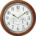 シチズン 電波掛け時計 ネムリーナインフォートW 温度・湿度計付 高輝度蓄光 木枠 連続秒針 茶色半艶仕上 8MY464-006