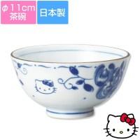 【ハローキティ(ブルーローズ)茶碗】φ11cm 大人向けの和