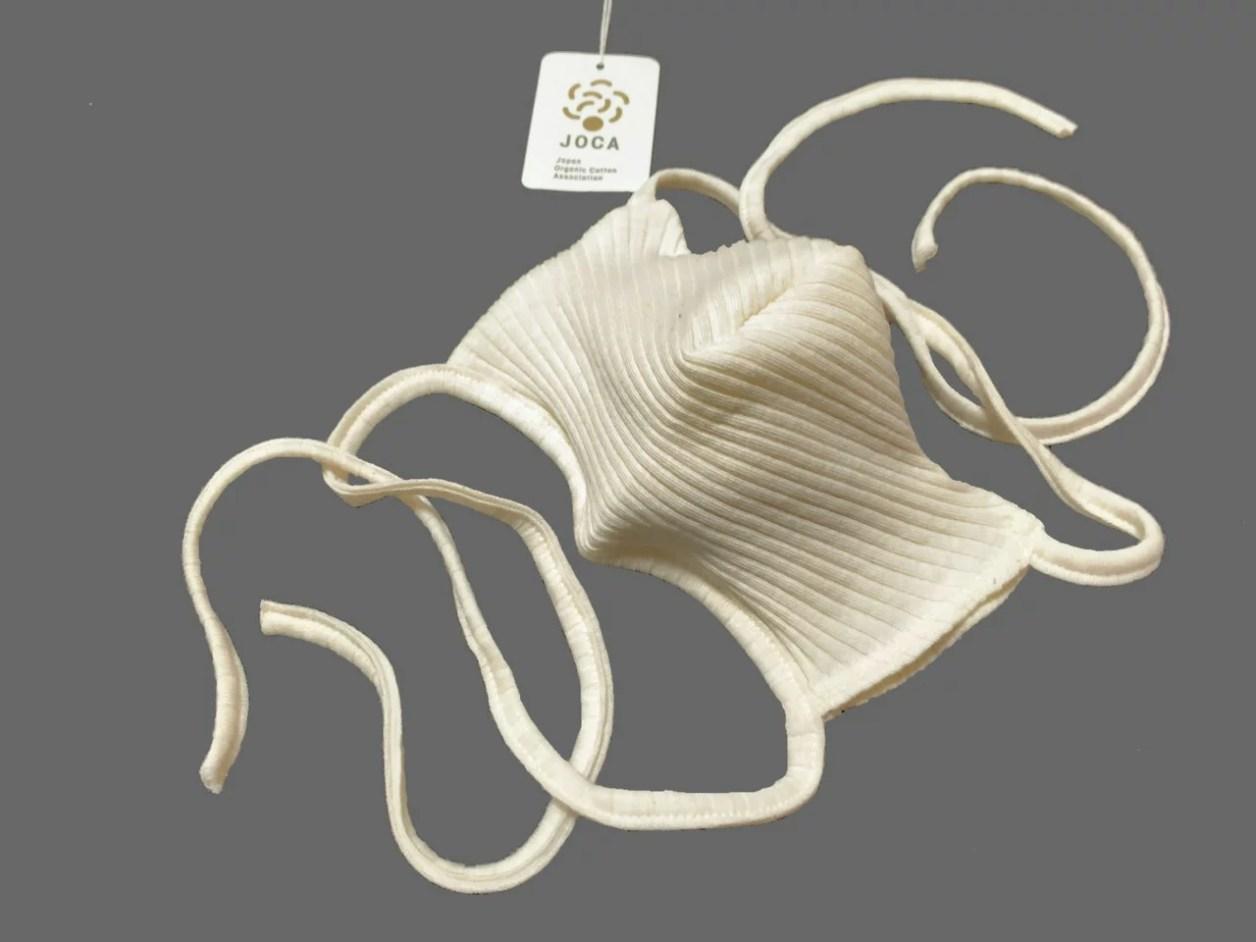 【日本製】100%オーガーニックコットン マスク アイボリーホワイト色、スガノ工房製造品 最短で即日