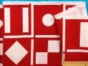 在庫処分・大幅値下げ綿中厚プリント生地赤×オフ白(150cm幅 1.5m)