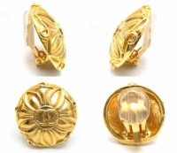 CHANEL Gold Plated Coco Mark Earrings /94697 | eBay