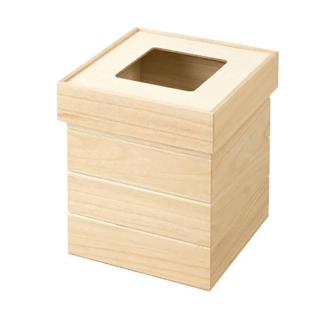 『天然木桐製ダストボックス 正方形 ナチュラル』 ごみ箱 ゴミ箱 ダストボックス ダストBOX くずかご 屑入れ ゴミ入れ おしゃれ ふた付き 正方形 桐 木製 フタ付き 洋室 蓋付き 和室 高級感 日本製 国産