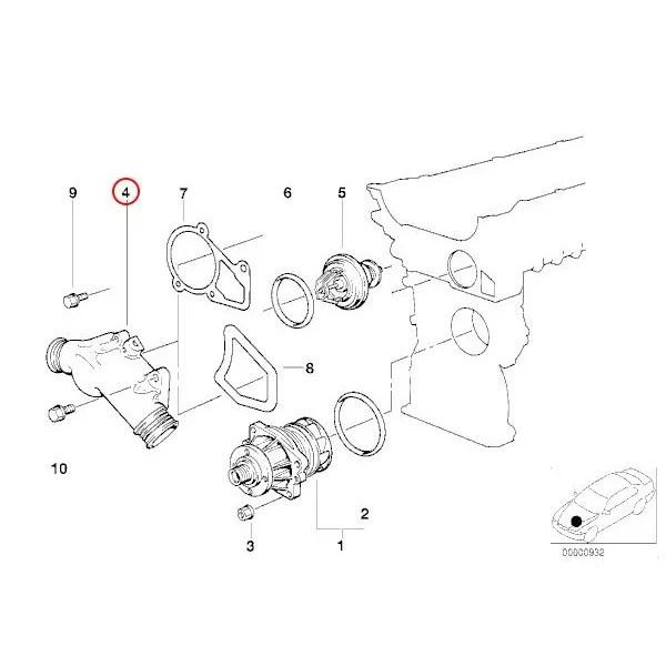 【楽天市場】BMW E34 E36 Z3 サーモスタットハウジング/コネクションフランジ 11531722531