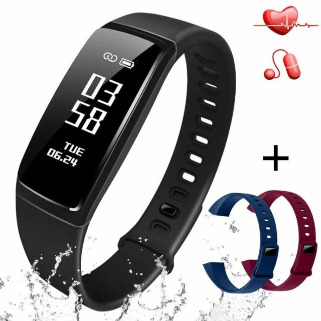 3色ベルト付き スマートウォッチ レディース メンズ 活動量計 心拍計 血圧測定 歩数計 USB充電