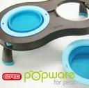 Popware ぺたんこスタンド S ブルー ペット 食器台 スタンド 便利な折りたたみ式スタンド