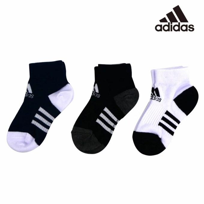 【SALE】adidas(アディダス) キッズ3P ショートソックス(19-23cm) 靴下 おしゃ