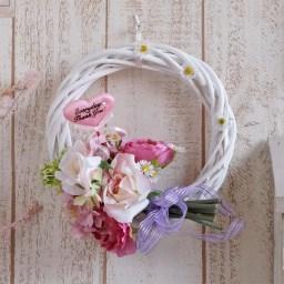 母の日 造花 スイートピンクのブーケリース(ハートのピック付