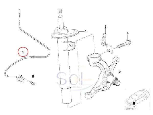 【楽天市場】BMW E46 E85 E86 Z4 フロント ABSセンサー(スピードセンサー) 右側 318i