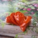 高知産赤珊瑚豪華な薔薇の花の彫りパーツ(1個)/手作り/ハンドメイド