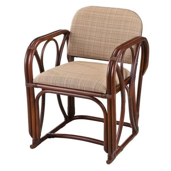 籐椅子 ラタンチェア 肘掛椅子 ダークブラウン色 アジアンテ