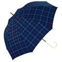 【ワールドパーティ】傘 晴雨兼用 アンヌレラ 長傘 ジャンプ トラッドチェック ネイビー 58cm -(-)