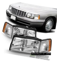 replacement 1997 1998 1999 cadillac deville headlights headlamps w corner lights 1997 1998 1999  [ 1158 x 1158 Pixel ]
