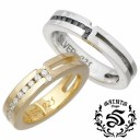 SAINTS【セインツ】 リング 指輪 ペアー シルバー ジルコニア クロス 15〜21号 7〜13号 925 スターリングシルバー SSR2-116BK-GD-P