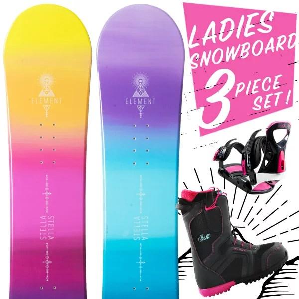 【1000円OFFクーポン対象】【送料無料】スノーボード 3点セット 板 レディース ELEMENT ボード 板 スノーボードブーツ スノーボードビンディング スノボ スノボー 3点 snowboard【まとめ買い相談可】