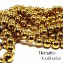天然石 ビーズ へマタイト ゴールドカラー 磁気なし 連売り 約8mm パワーストーン アクセサリー ハンドメイド