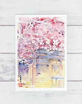 六波羅蜜寺 ( 春の絵葉書 桜の絵葉書 絵はがき ポストカード 水彩画 風景画